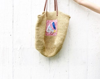 Large Market Tote - Woven Purse - Shoulder Farmers Market Bag - Upcycled Bohemian Purse - Roomy Carryall Bag - Ready to ship - eco friendly