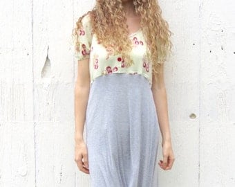 Upcycled Dress - Babydoll style cherry dress - bohemian clothing - mori girl clothes for women size medium -hi-low hem repurposed dress