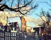 Sunset Photography, City Wall Art, Architecture Print, Houses and Trees, Amsterdam Photography, Sunset Art