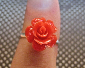 SALE Vintage 925 Sterling Silver Rose Ring