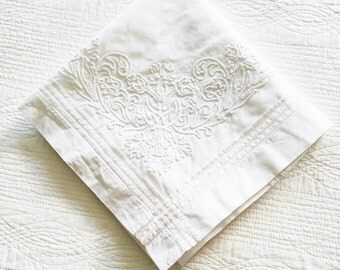 Vintage Romantic Home Snow White Floral Table Linen with Detailed Stitching and Pleated Edged Trim, Olives and Doves