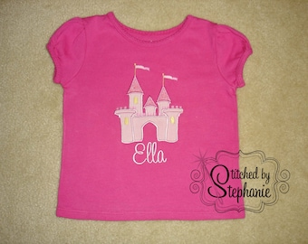 Baby and Toddler Girls Embroidered Personalized Monogrammed Pink Princess Castle Applique with name Shirt
