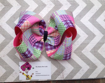 Madras Plaid Huge Boutique Hair Bow