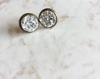 Silver Faux Druzy Post Earrings