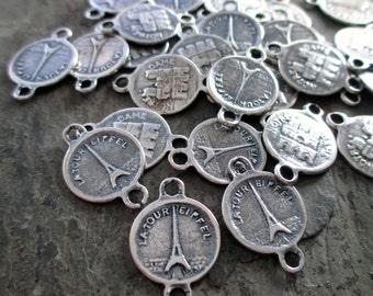 sterling silver plated paris souvenir bracelet connector links eiffel tower notre dame medal french france jewelry connectors, 4 pcs