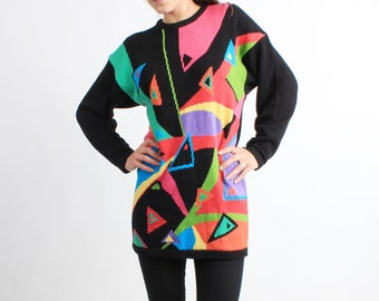 Vintage Colorful Abstract Long Sweater S