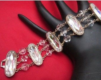 Wide Vintage Crystal  Bracelet with facet cut oval crystals gold tone setting with crystal beads wedding bride