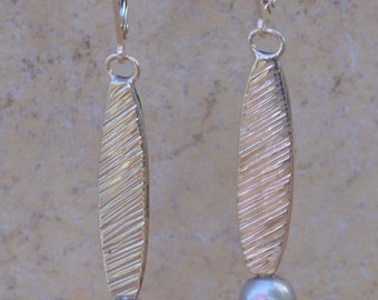 SALE Silver Earrings with Pearl/Long Pearl Earrings/White Pearl Silver Earring/Metalwork Earrings with Pearl