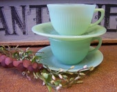 Vintage Tea for Two Jadeite/Jadite Jane Ray Pattern Fire King Cups and Saucers - tithriftstore.etsy