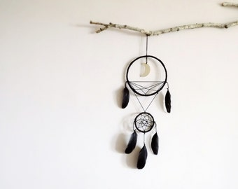 Dream catcher, black dreamcatcher, moon, star, wall hanging, boho, home decor, symbol, triangle, double dreamcatcher, handmade, gift ideas