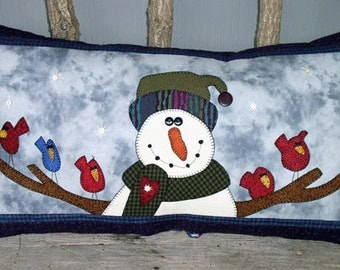 """Snowman and Birds Applique with Embroidery Pattern - """"Loving Arms"""" - Snowman Pillow -  BL #502"""