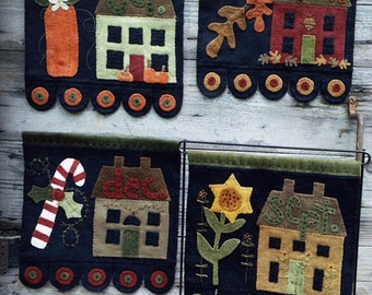 Wool Applique Pattern - Sept. Oct. Nov. Dec. Primitive Salt Box House Banners -  WSD #1513