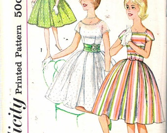 Vintage 1960 Simplicity 3901 Sub-Teen One-Piece Dress with Three Necklines Sewing Pattern Size 10S Bust 29""