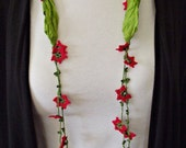 Silk Necklace Crochet Red Oya Flowers Pistachio Green Foulard Beaded Jewelry Scarf, Beadwork, Crochet Jewelry, Fast Delivery