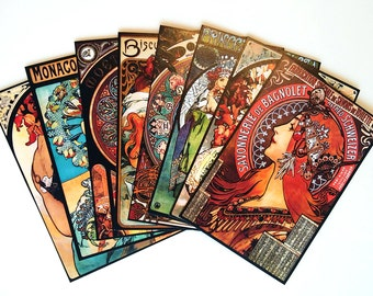 8 pcs. MUCHA STICKERS - Large Alphonse Mucha Stickers with 1920s Art Nouveau Paintings, Ready to Use Printed Stickers, Mucha Sticker Pack