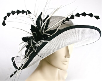 WIDE BRIM White Kentucky Derby Hat, Women's Hat with Feathers, White Asymetrical Brim Hat