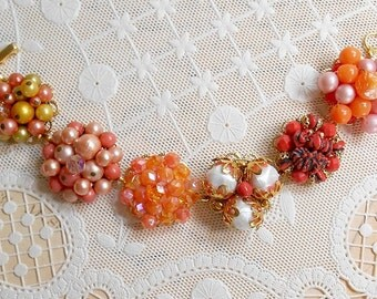 Earring Assemblage Bracelet, Autumn Fall Colors Orange Jewelry Bracelet, Halloween Bracelet, One Of A Kind OOAK Bracelet Upcycled Repurposed