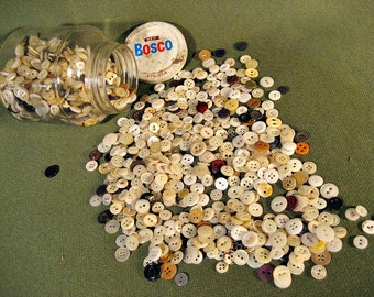 100's of Vintage Buttons in 1950's BOSCO jar