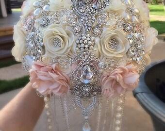 PINK IVORY Custom Jeweled Cascading Brooch Bouquet, DEPOSIT for this Custom Bouquet, brooch Bouquet, jeweled Bouquet