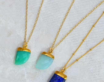 Gemstone horn necklace - aqua chalcedony horn necklace - long layering necklace - lapis horn necklace, chrysoprase horn pendant - horn charm