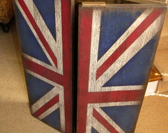 Rustic Dart Board Cabinet with British Flag