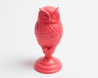 The Coral Owl Bust w/Pedestal- Coral Barn Owl Bust - Owl Decor - Animal Statue - Tabletop Accent Faux Owl Head by White Faux Taxidermy