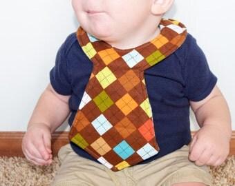 Brown Argyle Baby Necktie Bib
