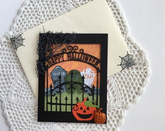 Happy Halloween card with multiple layers