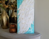 Angel Wing Art, Guardian Angel, Abstract wing on canvas with metal gold leaf, ethereal, heavenly 12 x24