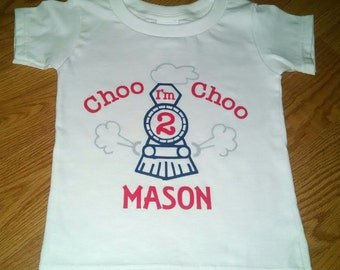 Choo Choo I'm 2 - Train Theme 2nd Birthday Boy Onesie Or T-Shirt - Personalized