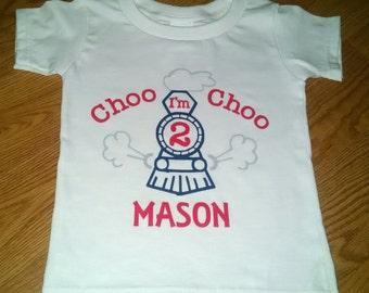 Choo Choo I'm 2 - Train Theme 2nd Birthday Boy Onesie Or T-Shirt - Personalized