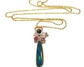 Opal Necklace Opal Jewelry October Birthstone Multicolor Australian Black Opal Pendant Opal Doublet Gemstone Jewelry Black Opal Jewelry