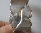 Cat Bracelet Cuff - Double Cat Bracelet