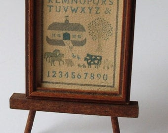 "adorable vintage Noah's ark picture with wood easel, 2-1/2"" x 4"", collectible, dollhouse decor"