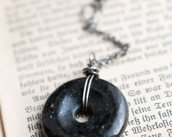 Nuummite pendant, gemstone donut, sterling silver, wire wrapped, black gemstone, Sorcerers stone, Magick talisman, gender neutral amulet