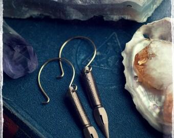 Vintage pen nib earrings, fountain pen, ink pen earrings, antique brass ear wires, writer earrings, author earrings, graduation gift.