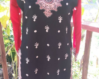 Woman's Boho Trimmed Tunic From India Red And Black Kameez sz Medium