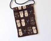 CAT Pouch Zip Bag BROWN Japanese Fabric. Phone Pouch. Maneki Neko, lucky cats. Walkers, markets, travel bag. small chocolate cat purse.