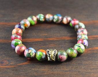 Men's Beaded Bracelet. Mardi Gras Jasper Bracelet. Elephant Bracelet. Men's Yoga Bracelet. Men's Fashion Bracelet. Lotus and Lava Bracelet.