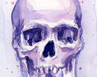 Skull Watercolor Purple Skull Painting Skull Art Print Skull Poster Artwork Skull Print Violet, Illustration, Art Print, Skulls, Skull Art