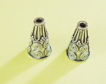 2 Pieces, Long Fancy Beaded and Swirl Cones, Bali Oxidized Sterling Silver .925, 19x11mm, SCN225