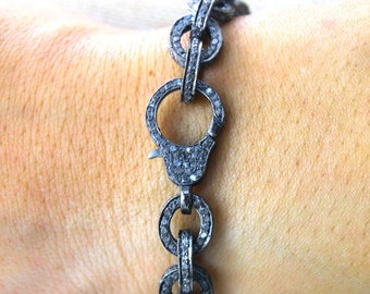 Pave Diamond Bracelet, Diamond Bracelet, Pave Bracelet, Pave Link Bracelet, Pave Oval Bracelet, Pave Art-Deco, Oxidized Silver. (BRAC-004)