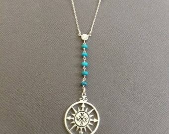 Lariat necklace, Hand wired Turquoise necklace, Compass Charm necklace, Long necklace, Summer vacation Necklace, Muse411