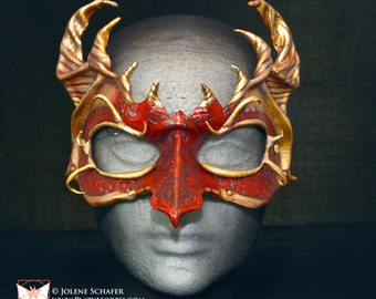 Scarlet and Gold Leather Dragon Hatchling Game of Thrones House Targaryen Inspired Cosplay Mask