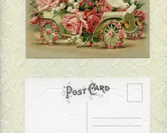 Victorian POST CARD, Victorian Postcard, Roses Postcard, Victorian Rose Postcard, Vintage Reproduction Postcards, Embossed Post Cards