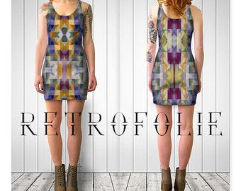 Window Fitted Dress, Geometric, bodycon dress, tight fitted by retrofolie