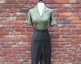 Amazing Vintage 1950s 50s 2 in 1 Blouse & Cigarette Pants Set Jumpsuit -Bad Girl-JD-Juvenile Delinquent-Pinup-Bombshell-Vixen-Rockabilly-VLV