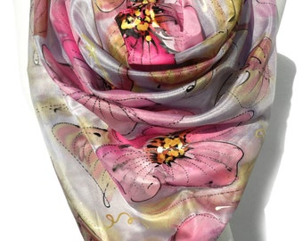 Hand Paint Silk Scarf. Square Scarf. Silk Art to Wear. Handmade Unique gift. Floral Silk Painting Silk Shawl. Square Silk 35x35in Ready2Ship