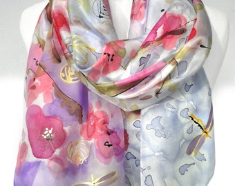 Hand Paint Silk Scarf. Birthday Gift for Her. Silk Painting. Wedding Scarf. Mother Gift. Silk Shawl. Floral Scarf. 18x71in. Ready2Ship