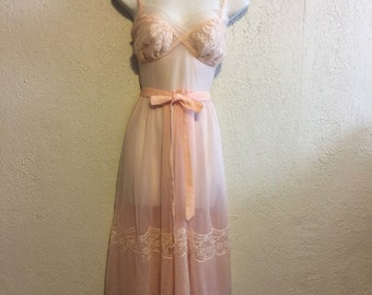 Pretty Pink Sheer Vintage Nightgown